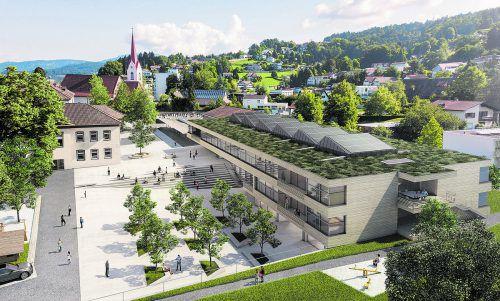 Die neue Volksschule Haselstauden wird den Stadtteil auch optisch aufwerten.Visualisierung: Stadt Dornbirn