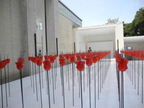 Im Innenhof des Pavillons hat die Künstlerin Renate Bertlmann 312 Rosen aneinandergereiht.Die blutroten Blüten sind aus Glas. VN/Dietrich