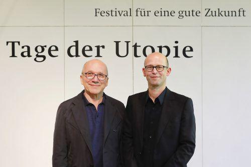 Josef Kittinger (l.) und Hans-Joachim Gögl sind die Köpfe hinter den Tagen der Utopie in Götzis. Anja Köhler