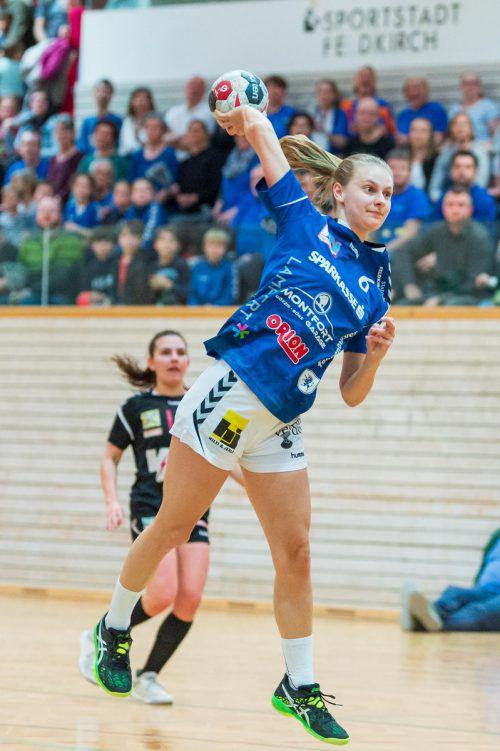 Julia Mayer erzielte für die Feldkircherinnen in Eggenburg einen Treffer.VN-Stiplovsek