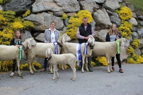 Markus und Carmen Fitsch mit Töchtern Chiara und Angelina; insgesamt sieben Schafe umfasst die Zuchtfamilie von Fitsch. VN/JLO