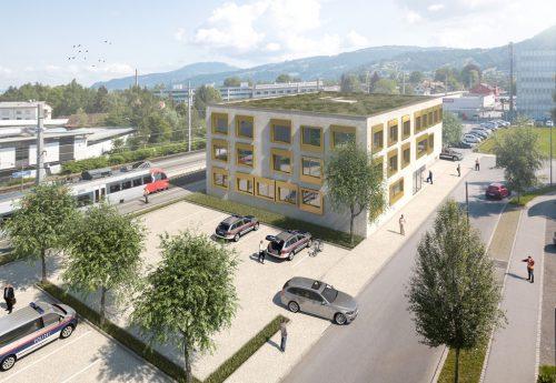 Visualisierung der neuen Zentrale von Bundespolizei und Bezirkspolizeikommando.stadt dornbirn