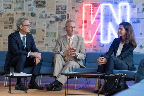 Vorstandschef Gerhard Hamel, Nachhaltigkeitsexperte Alfred Strigl und Private-Banking-Leiterin Petra Stieger. VN/Stiplovsek