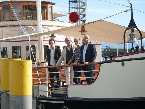 25 Jahre Literaturschiff: Mit an Bord waren die Autoren Reinhard Kaiser-Mühlecker, Otto de Kat, Christina Viragh und Organisator Franz Hoben. Helmut Voith