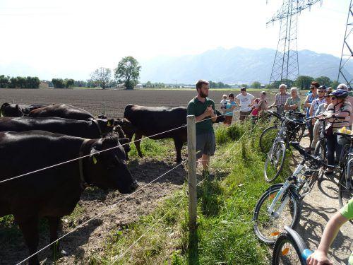 Betriebsleiter Christof Kaufmann zeigt den Teilnehmern der Radtour seine japanischen Wagyu-Rinder. Marktgemeinde