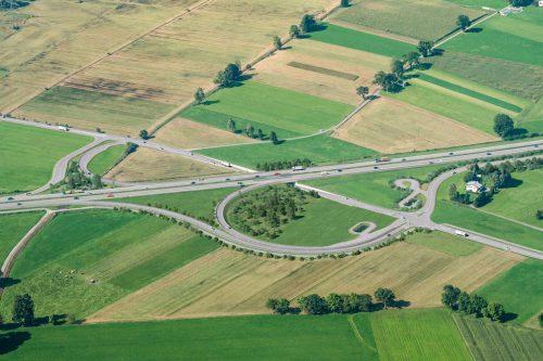 Der geplante Autobahnanschluss Dornbirn Süd auf Höhe Schweizerstraße in einer Animation.Stadt