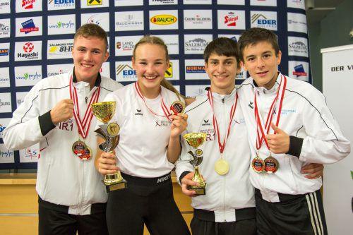 Die Vorarlberger Medaillengewinner bei den Austrian Junior Open (v.l.): Adrian Nigsch, Hanna Devigili, Hamsat Israilov und Yannick Böhler.Verband