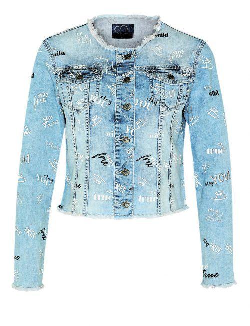 extravagant             Kurze Jeansjacke mit Alloverdruck von Jones, erhältlich um 139,95 €.