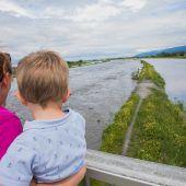 Hochwasseralarm: Starkregen in der Schweiz ließ Rhein mächtig anschwellen. A5