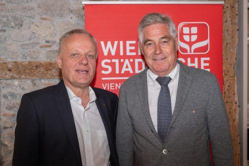 """Lebensmittelhändler Werner Gunz und """"Arlberg Express"""" Horst Fritz."""