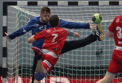 Luca Raschle war mit insgesamt sieben Toren, darunter die letzten beiden Treffer, einer der Matchwinner auf Seiten der Harder.GEPA
