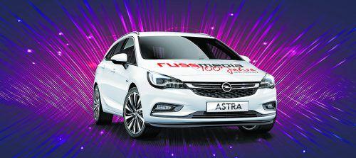Mitfeiern und gewinnen: Hauptpreis ist ein Opel Astra 5-T aus dem Autohaus Gerster im Wert von 25.038 Euro.vn