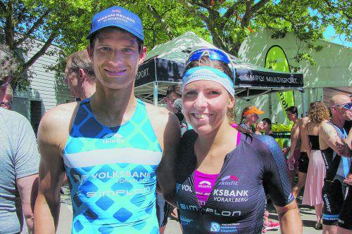 Paul Reitmayr und Bianca Steurer verteidigten beim Ironmännli in Lustenau ihre Titel mit Erfolg.TV