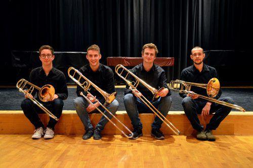 Peter Brotzge aus Brederis, Thomas Burgstaller aus Bludenz, Maximilian Martin aus Zwischenwasser und Timo Ritter aus Tosters konzertieren zum Musikschulabschluss.