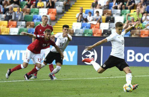 Platziert, aber nicht gut genug. Christoph Baumgartner vergibt beim Stand von 1:1 gegen Dänemark einen Elfmeter.apa