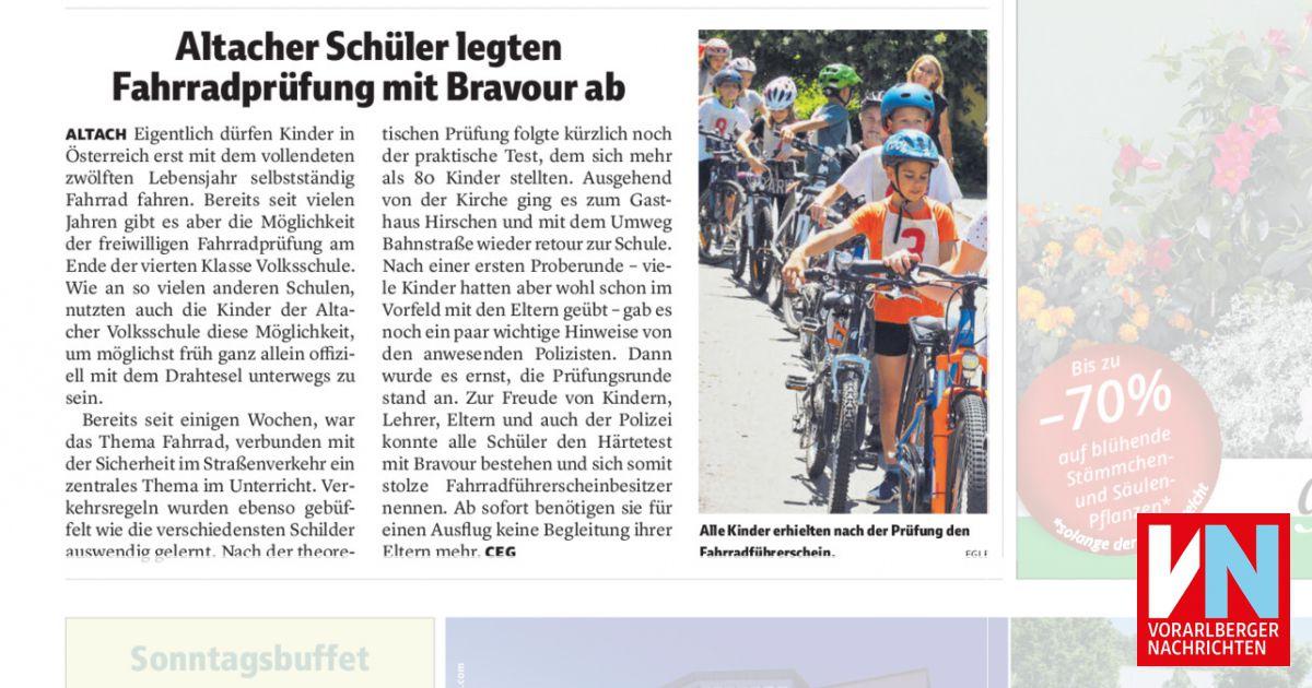 Altacher Schüler legten Fahrradprüfung mit Bravour ab