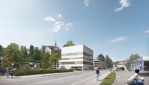 So wird sich der Neubau der Firmenzentrale an der Bregenzer Arlbergstraße präsentieren. rendering/Glatz