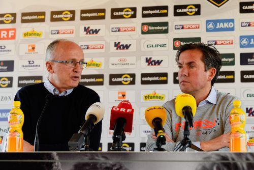 Sportdirektor Georg Zellhofer (l.) und Trainer Alex Pastoor (r.) werden in den kommenden Wochen alles daransetzen, einen erfolgreichen Kader zusammenzustellen.VN/Stiplovsek