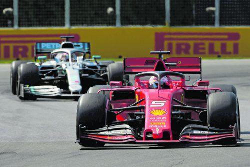 Start-Ziel-Sieg von Sebastian Vettel in Montreal, am Ende war er aber doch nicht Erster: Eine Fünf-Sekunden-Strafe gegen den Ferrari-Piloten machte Lewis Hamilton zum Gewinner.apa