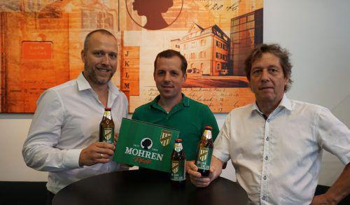 Bernd Marte von der Mohrenbrauerei mit Vincent Baur und Bernd Bösch (v. l.).Austria