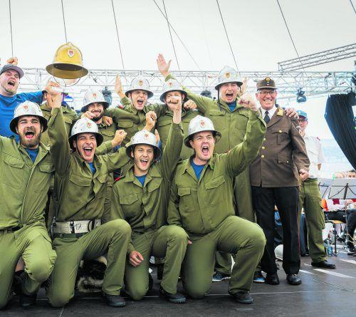 Der Jubel bei der neunköpfigen Wettkampfgruppe aus Übersaxen war groß. VN/Stiplovsek