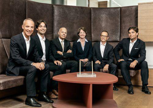 Die nun sechs Partner des Wirtschaftsprüfungs- und Steuerberatungsunternehmens RTG mit Hauptsitz in Dornbirn freuen sich über die hohe Auszeichnung.FA