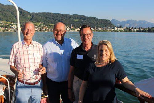 """Jürgen Zimmermann, Bernd Hartmann, Gernot Kulhay und Julia Hoffmann hatten Freunde, Paten und Gönner zur """"Danke-Fahrt"""" geladen. STRAUSS"""
