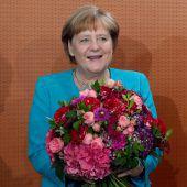Blumen für die Kanzlerin