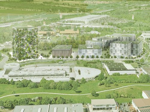 Projektentwickler Hermann Metzler baut in Universitätsstadt Göttingen das Innovationsquartier Herbert-Quandt-Straße mit Bosco-Verticale-Gebäude (li.). FA/VN-RP