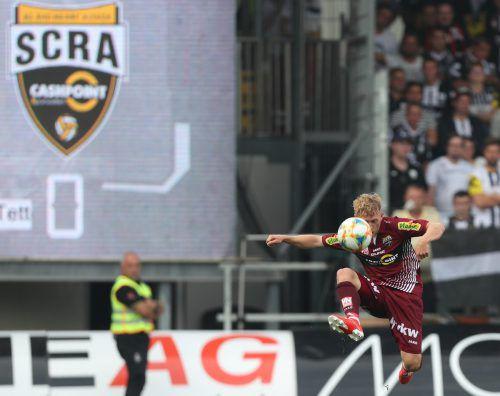 Für einmal viel Platz für Manuel Thurnwald bei seinem Bundesligadebüt im Dress des Cashpoint SCR Altach.gepa