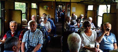 Jahrgang 1943 auf der Fahrt mit der Sauschwänzlebahn.Jahrgang 1943