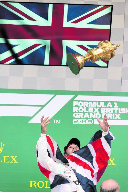Lewis Hamilton triumphierte bei seinem Heim-Grand-Prix in Silverstone zum sechsten Mal und feierte seinen 80. Sieg in der Formel 1.gepa