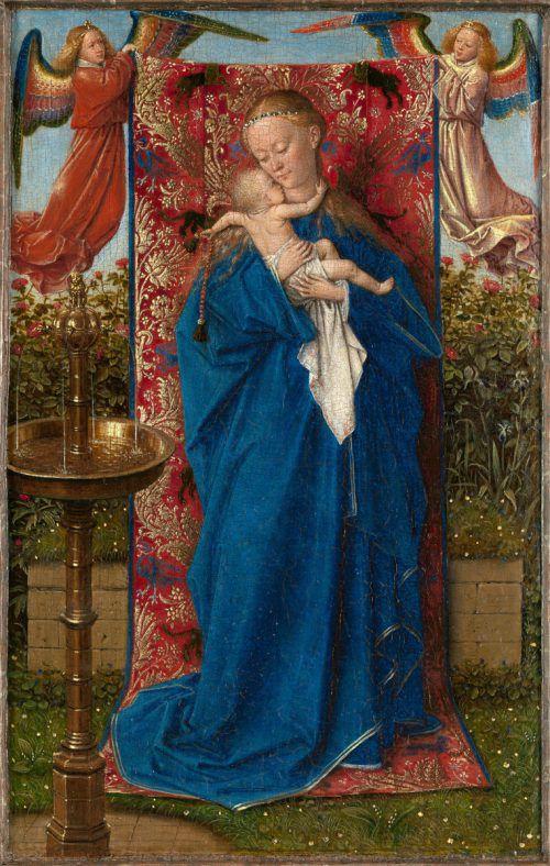 """""""Madonna am Brunnen"""", 1439 von Jan van Eyck. Der Maler signierte auf der unteren Leiste des originalen Rahmens mit seinem Motto """"als ich can"""". KMSKA, Lukas, KHM"""