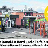 """<p class=""""infozeile"""">               McDonald's Hard feiert 25.              </p><p class=""""infozeile"""">               Geburtstag und alle feiern mit             </p><p class=""""infozeile"""">Am 6. Juli 2019 war es so weit: Rechtzeitig zum Start der Vorarlberger Sommerferien feierte das McDonald's Restaurant in Hard seinen 25. Geburtstag. Kaum vorstellbar: Am 24. März 1994 wurde im McDonald's Restaurant in Hard der erste Big Mac Vorarlbergs serviert. Mit den VN-Familiensommer-Gutscheinen lohnt sich der Besuch in den McDonald's Restaurants auch heuer wieder doppelt: Für Erwachsene gibt es zwei Wraps nach Wahl und für Kinder zwei Happy Meal, jeweils zum Preis von einem. Einlösbar bei McDonald's in Dornbirn, Lustenau, Hohenems, Rankweil und Bürs/Bludenz.</p>"""