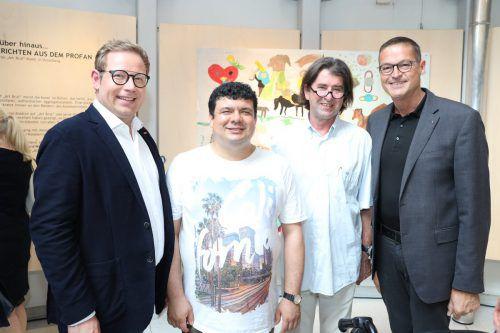 ORF-Landesdirektor Markus Klement, Künstler Savas Kilinc, Kurator Harald Gfader und Landesrat Christian Bernhard. ORF Vorarlberg