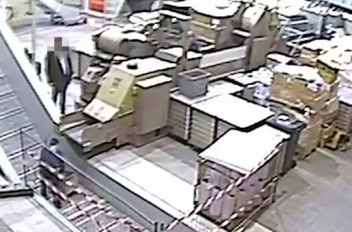 """Screenshot des vom """"Falter"""" veröffentlichten Videos, das M. beim Festplatten-Schreddern zeigen soll."""