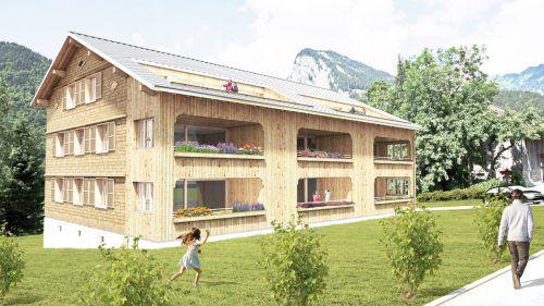 So wird die neuen Wohnnanlage in Au nach der Fertigstellung einmal aussehen.Mono Wohnbau GmbH