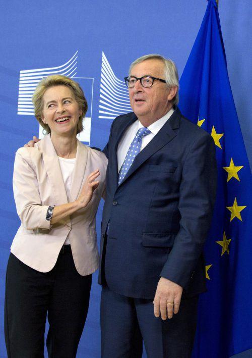 Ursula von der Leyen traf Noch-EU-Kommissionschef Jean-Claude Juncker.ap