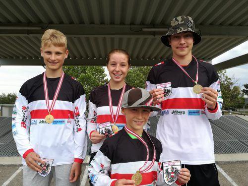 Vorarlbergs BMX-Staatsmeister (v.l.): Bjarne Schedler, Hannah Muther, Luca Fercher und Andre Dutczak.verein