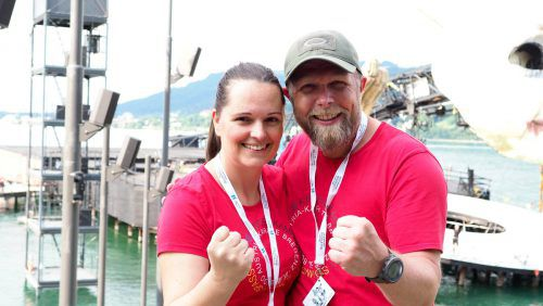 Workshopleiter Eva Kathrein und Stefan Mayr vom Karate-Club Bregenz.