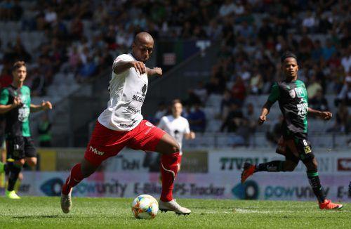 Bild aus dem Spiel gegen Wacker Innsbruck: Ygor Carvalho tritt an und sorgt damit meist für Torgefahr beim Gegner.gepa