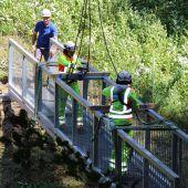 Neue Stahlbrücke in Bildstein