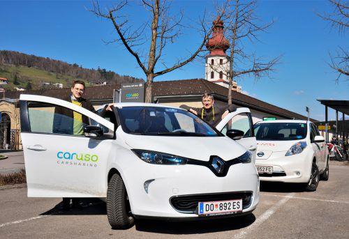 Car-Sharing-Genossenschaft Caruso setzt auf fixe Stellplätze (im Bild: Feldkirch) und E-Mobilität. VN/Hartinger