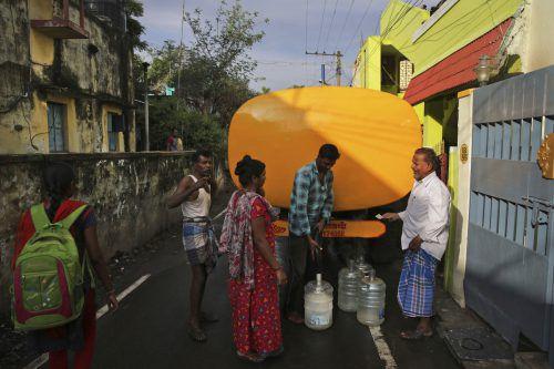 Das Wasserwerk von Chennai verteilt Trinkwasser. Ap