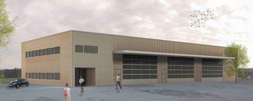 Die neue Halle im Gewerbegebiet Lingenau bietet nach der Fertigstellung vielfältige Verwendungsmöglichkeiten.