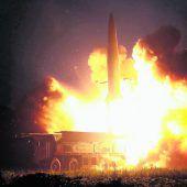 Warnung mit Raketentest