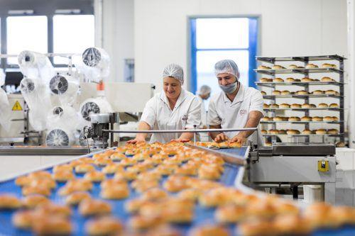 Handarbeit in der Großbäckerei: Ölz bietet neben dem innovativen Lehrberuf Lebensmitteltechniker auch die klassische Bäckerlehre an. Fa/Weissengruber