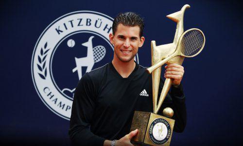 Hurra die Gams! Dominic Thiem kann fünf Jahre nach seinem ersten Endspiel in Kitzbühel jubeln. Thomas Muster gewann 1993 als letzter Österreicher. gepa