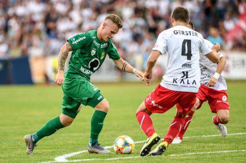 Im Derby gegen Dornbirn war Thomas Mayer nicht zu halten. Heute soll er seinem Ex-Klub Kopfzerbrechen bereiten. Gepa