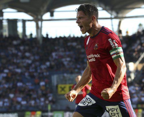 Rapids Kapitän Stefan Schwab erzielte das Siegestor gegen Sturm Graz.Gepa